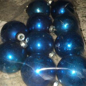 Vintage lot of 10 blue glass ornaments.